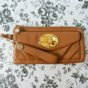 Emma Fox camel leather clutch with gold hardware